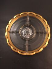 Heisey #1170 Pleat & Panel 5-Part Divided Spice Tray Gold Barcelonia #158 Etch