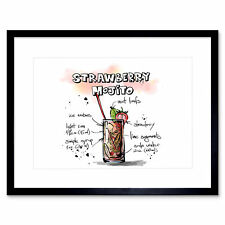 Food Drink Painting Cocktail Recipe Strawberry Mojito Framed Print 12x16 Inch