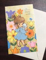 Vtg Greeting Card Friend Birthday Little Girl Kitten 1970's Norcross NOS