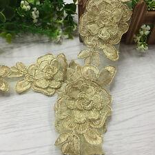 6.5CM,1 yard Golden Peony Flower lace Edge Trim Gathered DIY Ribbon Sewing  LS58