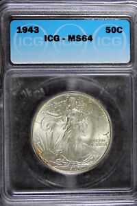 1943 - ICG MS64 Walking Liberty Half Dollar!!  #B21107