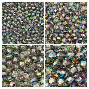 Set of Round Fire Polished Beads (3mm, 4mm, 6mm, 8mm), Crystal Vitrail