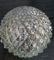 "Vintage Mid Century Pressed Cut Clear Diamond Glass Lamp Shade Globe 8"" (OL7)#1"