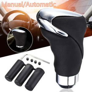 Automatic & Manual Gear Shift Knob Shifter Handle Lever Stick Genuine Leather