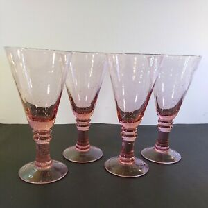 """Set of 4 Martini Glass Large Pink Bubbles Goblet Wine Champagne Margarita 8"""""""