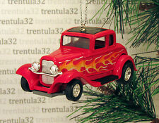 '32 FORD COUPE 1932 RED W FLAMES CHRISTMAS TREE ORNAMENT XMAS