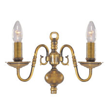 Searchlight Flemish 2 Light Traditional Brass Hallway Stair Wall Fitting Bracket