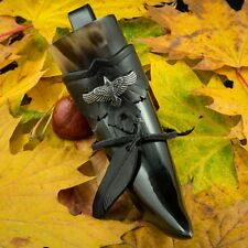 Viking Drinking Horn with Leather Holder Pagan Vikings Horns Raven Norse LARP
