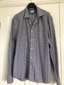 Hartford Blue and White Checked 100% Cotton Shirt XL  - Very Good Condition