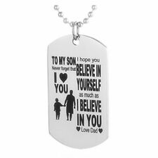 Father Son Dog Tag Link Chain Pendant Necklace Kids Love Gift Military