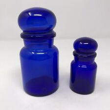 Vintage Mid Century Cobalt Blue Belgium Glass Apothecary Bubble Lid Storage Jars