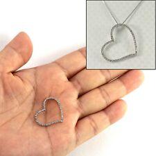 14k White Solid Gold Diamonds Beautiful & Love & Heart Pendant Necklace TPJ