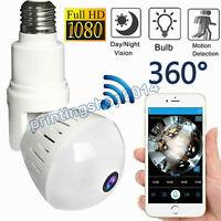 HD 1080P 360 Panoramic Hidden Wifi IP Camera Light Bulb Home Security Lamp Cam Y