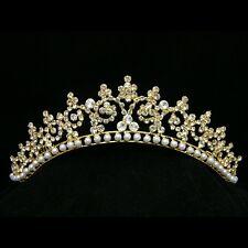 Gold Bridal Wedding Rhinestonel Crystal Pearls Crown Tiara 8317