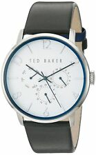 new 1 Ted Baker TE10029567 'James' Men's White Dial Leather Strap Watch w/b