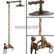 Vintage Retro Antique Brass Bathroom Rain Shower Faucet Set Mixer Tap nan050