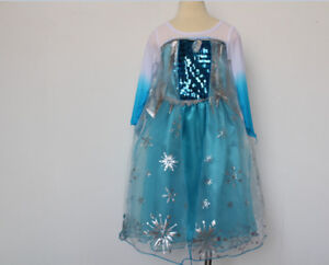 Robe Déguisement Costume Reine Neiges Frozen Elsa Fille Princesse Noel xab01