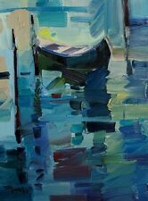 JOSE TRUJILLO Oil Painting IMPRESSIONISM BOAT WATER 12X16 CONTEMPORARY ARTIST