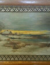 """ANTIQUE OIL PAINTING 20"""" x 11.5"""" BOARD WINTER SUNSET POND BARN HOUSE late 1800s?"""