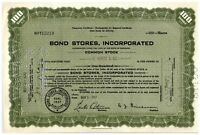 Bond Stores, Incorporated Green Stock Certificate 100 Shares