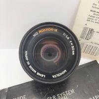 Minolta Rokkor-X 50mm 1:1.4 f/1.4 Manual Focus MD-Mount Rolev M.G. 55mm UV lens