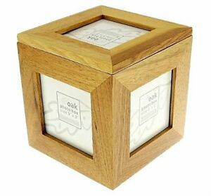 Natural Oak Wooden 5 Picture Photo Picture Cube   Keepsake Box - 5 Pictures of 3
