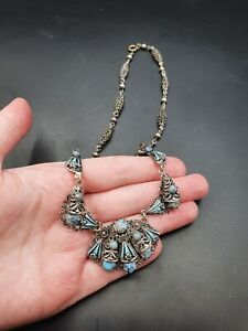 Vintage Antique 1930s Czech Blue Peking Glass Necklace