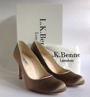 L.K.Bennett Taupe Satin & Leather Mid Slim Heel Court Shoe Size UK 5 EU 38 & Box