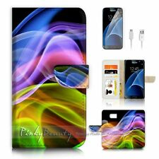 ( For Samsung S7 ) Wallet Case Cover P0519 Abstract Wave