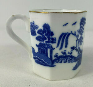 Wedgewood Antique Flow Blue Willow Demi Tasse Cup Rare