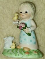 Vintage Lefton Girl with Bird Porcelain Hand Painted Figurine Bunny Rabbits 1990