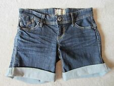 WOMENS STRADIVARIUS BLUE STRETCH FITTED ROLL UP JEAN DENIM SHORTS 36 EUR 4 USA