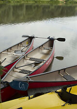 A3 Yellow Red Canoes on lakeshore Photographic Epson Print only (Unframed)