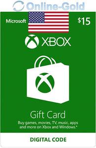 Xbox Live Gift Card 15 USD - $15 US Dollar Microsoft Guthaben Xbox 360 One USA