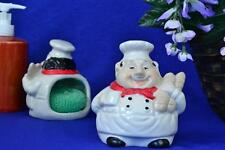 """Fat Chef ITALIAN BREAD POLY RESIN HOLDER WITH GREEN SPONGE, aprox. 4.5"""" tall"""