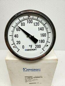 "Ashcroft 50EL60E040 0/200° F Bimetal Thermometer, 5"" Dial, 4"" Stem Every angle"