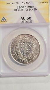 Great Britain 1900 Silver 1/2 Crown S-3938 ANACS AU-50 Details