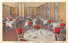 Muskegon Michigan~Occidental Hotel~Dining Room~Table Place Settings~1931 Linen