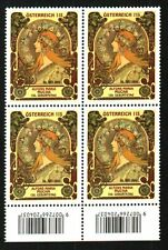 ALPHONSE MUCHA150TH BIRTHDAY/SARAH BERNHARDT BLOCK OF 4 MNH