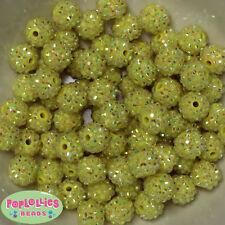 14mm Yellow Rhinestone Resin Bubblegum Beads Lot 20 pc.chunky gumball