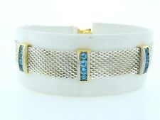 Blue Topaz December Mesh Bracelet 7 5/16 925 Silver Gp 2.00ct 20 Round Synthetic