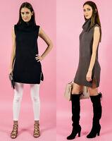 BLACK & CHARCOAL SLEEVELESS CHUNKY TURTLENECK DRESS / LONG TOP.
