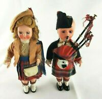 """Pair of Vintage Scottish Dolls w/Bagpipes 7"""" tall with sleep eyes 1960's"""