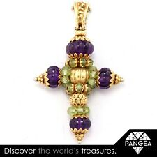Vintage Solid 18k Yellow Gold Amethyst Peridot Ornate Cross Pendant ITALY
