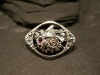 Edle 800 Silber Brosche Jugendstil Art Deco Vogel Blumen Rubin Granat Rot Steine