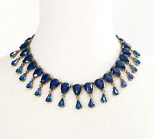 NAVY BLUE TEAR DROP CRYSTAL RHINESTONE Chunky Choker Collar Statement Necklace