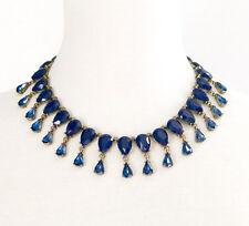 NAVY BLUE TEAR DROP CRYSTAL RHINESTONE Chunky Choker Collar Statement Necklace