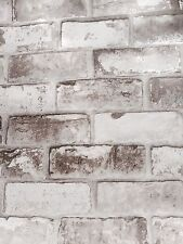 SALE SALE Vinyl, 3D Beige/ Grey Shades Brick Wallpaper With Hint Of Silver