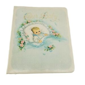 Vintage Baby Keepsake Book Hallmark Unisex Baby Album Pink Blue Illustrations