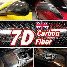 "🔥 7D 12""x60"" Ultra Shiny Gloss Black Glossy Carbon Fiber Vinyl Wrap Sticker UK"